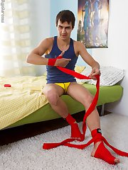 Handsome jock boy Ivan spurts a big load